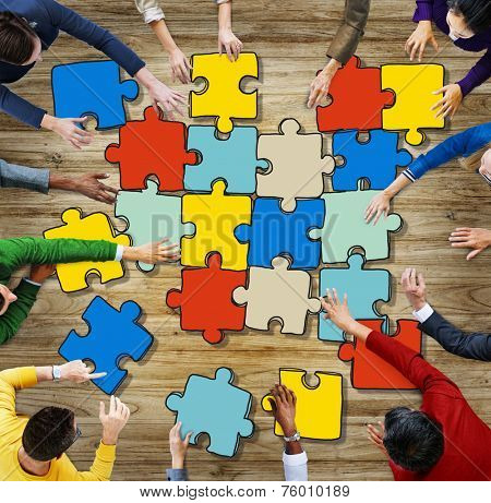 Group of Diverse People with Jigsaw Puzzel Pieces