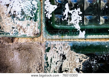 The Old And Damaged Glass Bricks Surface