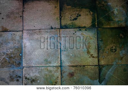 Surface Of The Old Dirty Big Square Tiles