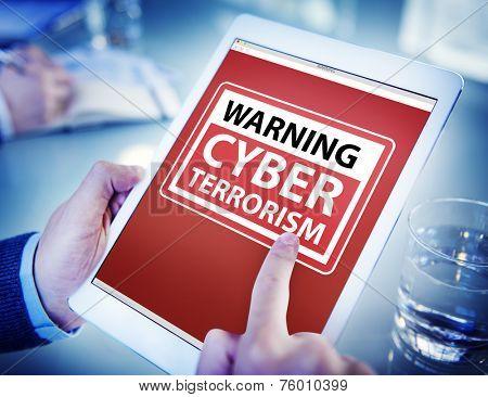 Hands Holding Digital Tablet Cyber Terrorism