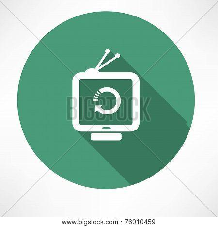 refresh icon on retro television set