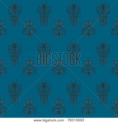 Seamless Blue Retro Pattern