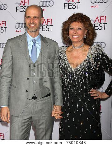 LOS ANGELES - NOV 12:  Edoardo Ponti, Sophia Loren at the A Special Tribute to Sophia Loren at AFI Film Festival at the Dolby Theater on November 12, 2014 in Los Angeles, CA