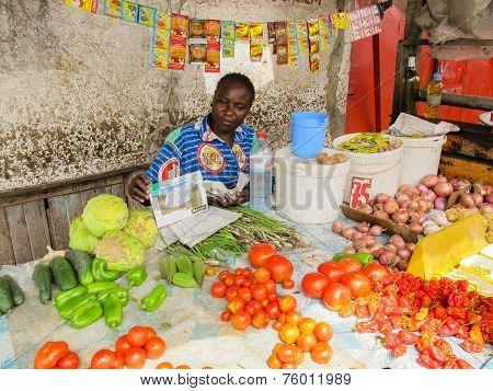 Sreet Vendors In Brazzaville, Capital Of Republic Of Congo In A