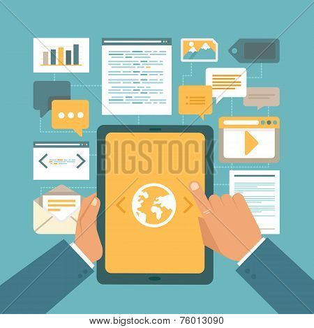 Vector Content Marketing Concept In Flat Style