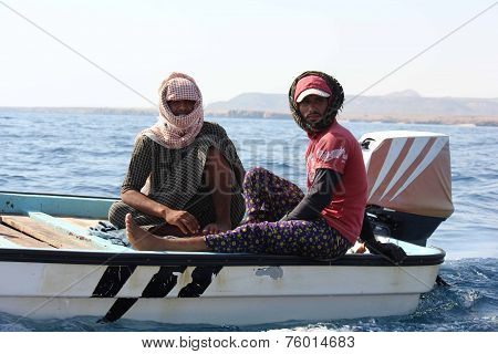 Sur, Oman, October 23, 2013: Omani Fishermen Oh Its Boat In The Gulf Of Oman.