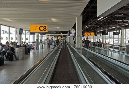 Amsterdam - Moving Escalator In The Amsterdams Airport Schiphol