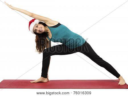 Christmas Yoga Woman Doing Extended Side Angle Pose