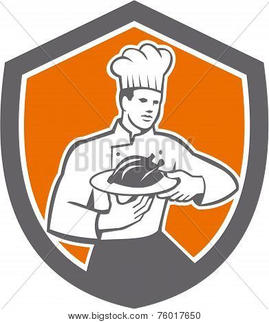 Chef Cook Serving Chicken Platter Shield Retro
