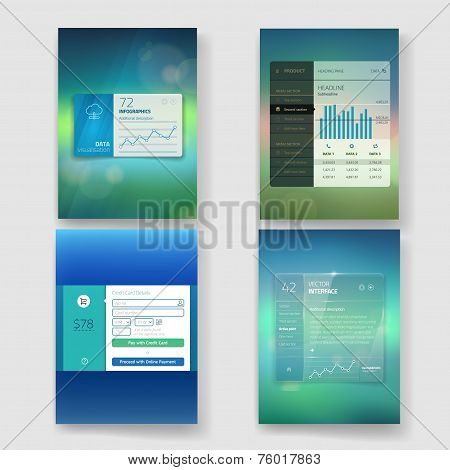 Set of website interface template design. Transparent user interface, UI buttons. Minimalistic widge