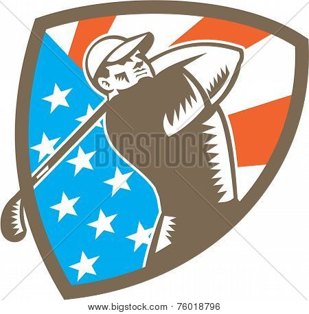 American Golfer Tee Off Golf Shield Woodcut