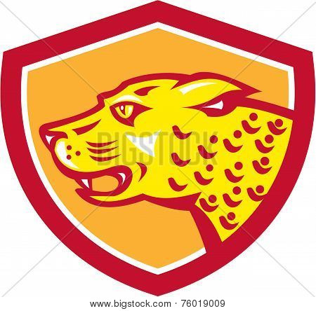 Jaguar Head Side Growling Shield Retro