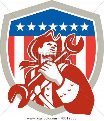 Mechanic American Patriot Holding Spanner Shield