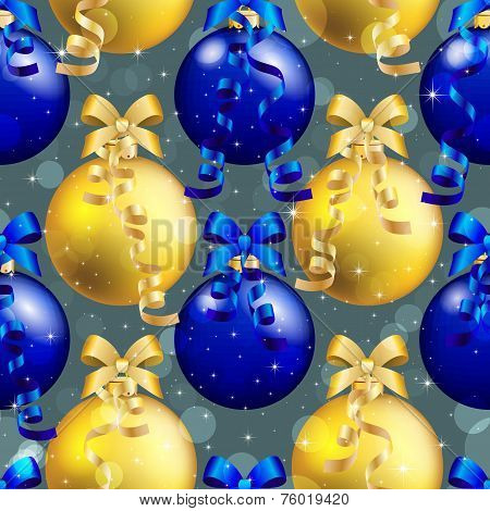 New Year Pattern With Ball. Christmas Wallpaper With Bow And Ribbon.