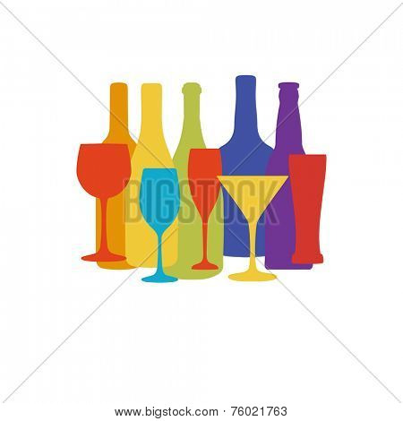 Vector background with different wine and beer bottles in rainbow colors