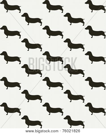 Seamless pattern with cute dachshunds. Retro background with small black dogs on beige paper background. For greeting card, textile, wrapping paper, gift boxes, packing elements, web or textile design