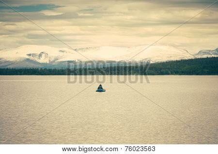 Fishing Boat and scandinavian Landscape