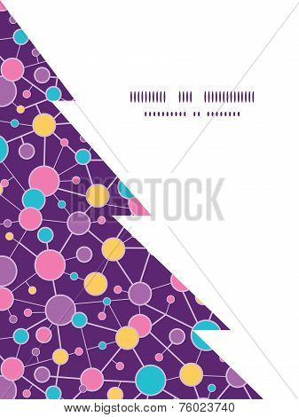 Vector molecular structure Christmas tree silhouette pattern frame card template