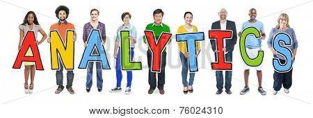 Multiethnic Group of People Holding Analytics