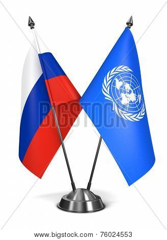 UN and Russia - Miniature Flags.