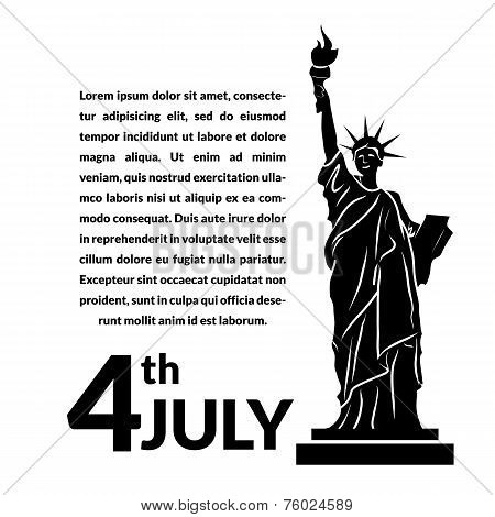 Black and white vector illustration of independence day USA