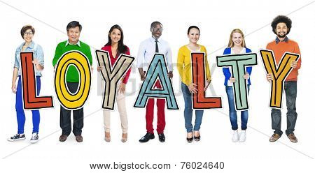 Group of People Standing Holding Loyalty