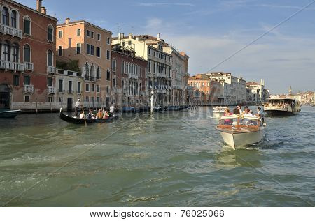 Boats Sailing By The Grand Canal