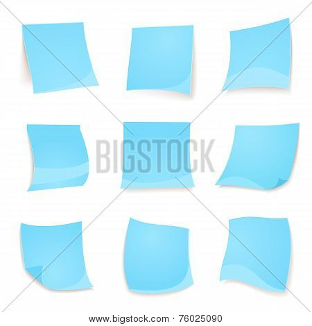 Vector blue stick note isolated on white background