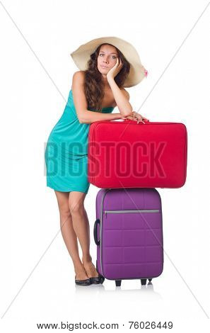 Woman with luggage isolated on the white