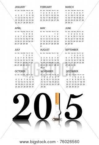 New Year resolution Quit Smoking Calendar with the 1 in 2015 being replaced by a stubbed out cigarette.