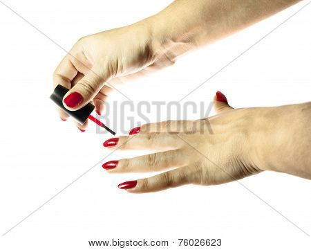 Women's Hand Painted Nails Red Lacquer Isolated