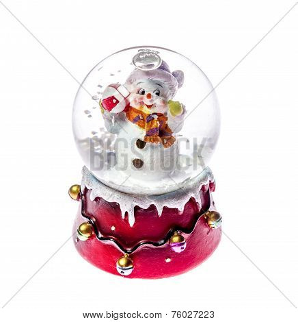 Christmas Toy Snowman In Glass Ball Isolated