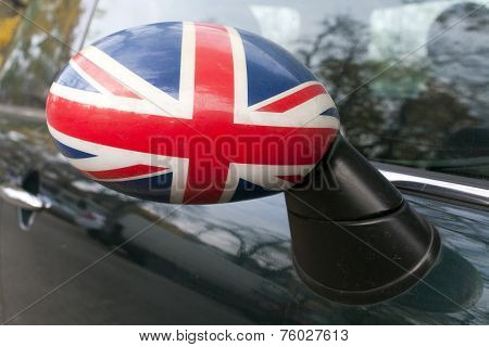 British flag concept in a car