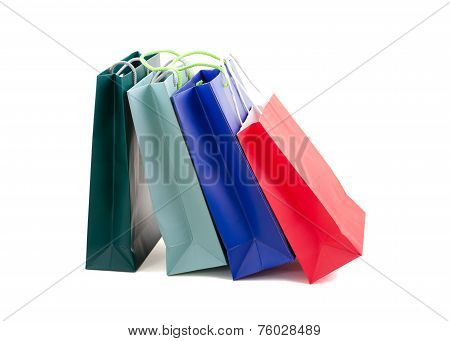 Bags as a gift. Several paper shopping bags.