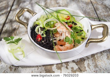 Black And White Risotto With Shrimp And Zucchini