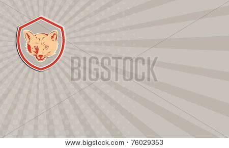 Business Card Red Fox Head Front Shield Retro