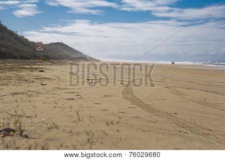 Fraser Island, Australia, Motorway On The Sand