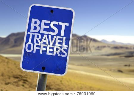 Best Travel Offers sign with a desert background