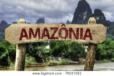 Amazon (In Portuguese) sign with a forest background