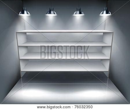 Shelves in storeroom. Vector illustration.
