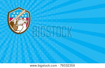 Business Card Wolf Baseball With Bat Usa Stars Shield Retro
