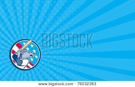 Business Card Wolf Baseball With Bat Usa Stars Circle Retro