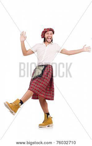 The dancing scotsman isolated on white