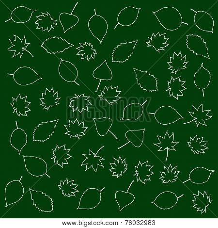 Leaves On A Green Background
