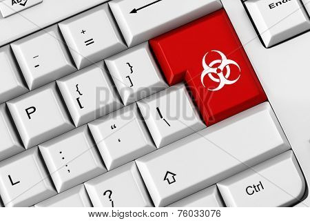 Biohazard symbol on a red keyboard key as symbol for malware (3D Rendering)