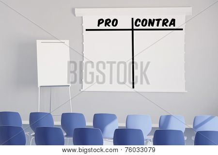 Pro and Contra as list on a flipchart in a seminar room (3D Rendering)