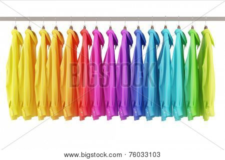 Many colorful shirts hanging assorted in rainbow colors on a clothes rail (3D Rendering)