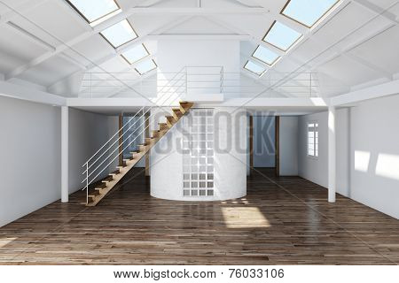 Upgrading an empty attic in house with parquet floor (3D Rendering)