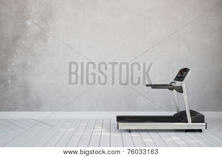 Treadmill in interior room at home in front of concrete wall (3D Rendering)