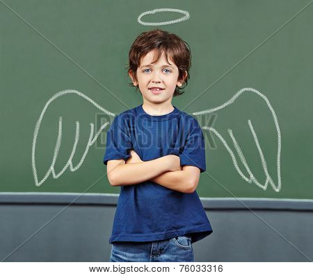 Cute child with wings and halo as guardian angel
